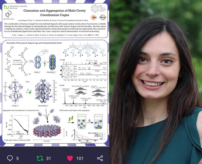 Picture of PhD student Irene Regeni together with her poster which was acknowledged with a poster price at the virtual ISMSC poster session 2020.