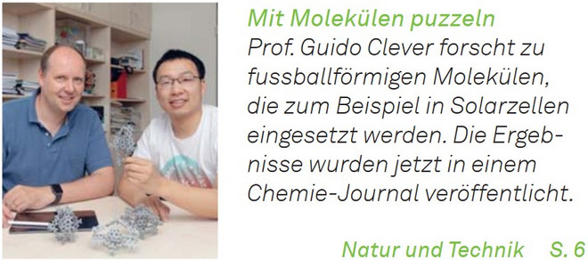 Picture of Prof. Dr. Guido Clever and Bin Chen together with the newspaper announcement.