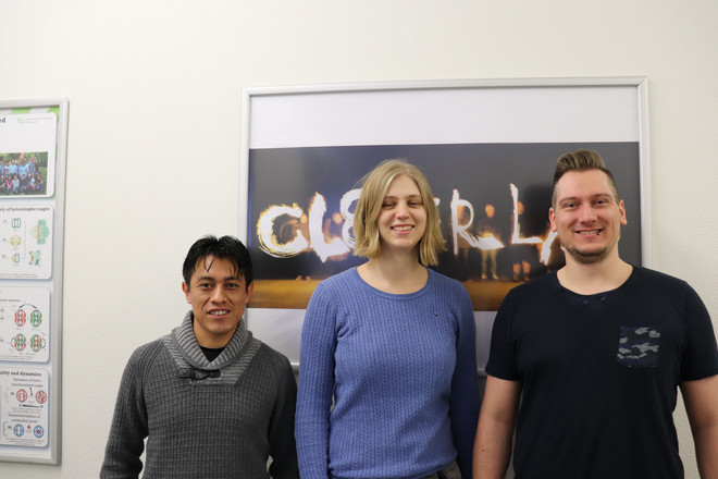 Picture of the three new group members Dr. Pedro Montes Tolentino, Hannah Kuckling and Simon Kotnig.