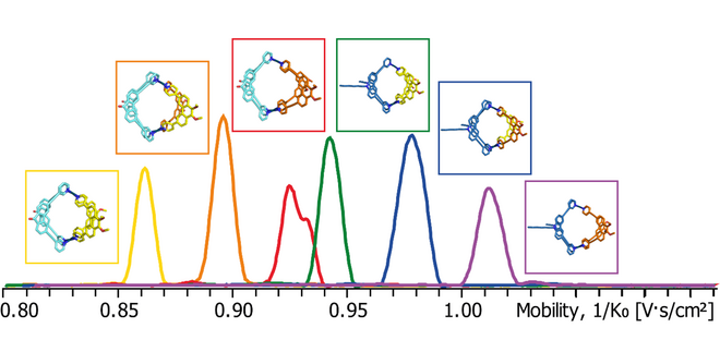 Trapped ion mobility-derived mobilograms of a complex mixture of heteroleptic coordination cages shows clear differentiation of different species.