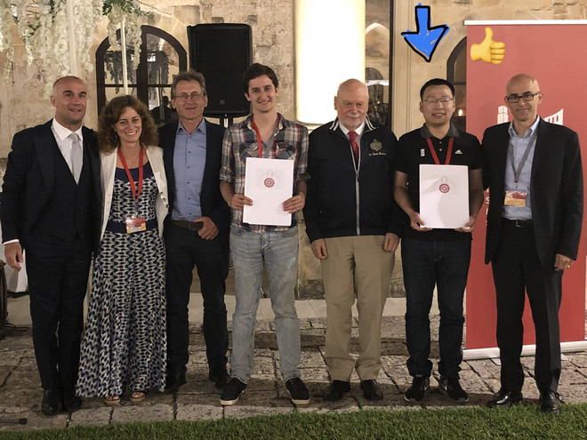 Picture of PhD student Bin Chen (poster price) together with another winner and the jury at the ISMSC 2019 in Lecce, Italy.